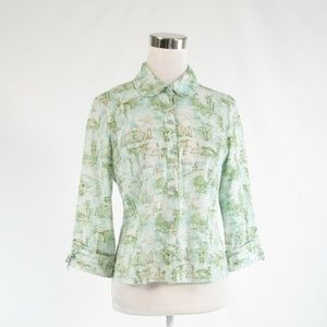 Blue ANTHROPOLOGIE ODILLE  button down blouse 6